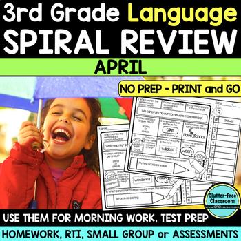 No Prep APRIL LANGUAGE Spiral Review for 3RD GRADE