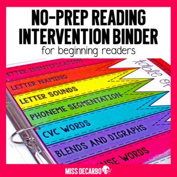 Reading Intervention Binder for Beginning Readers