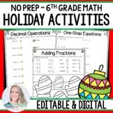 No Prep Holiday Math Activities for 6th Grade