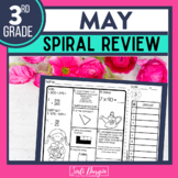 No Prep MAY MATH Spiral Review for 3RD GRADE
