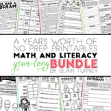 NO PREP Math and Literacy: A Year-Long Bundle of Monthly P