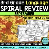No Prep SEPTEMBER LANGUAGE Spiral Review for 3RD GRADE