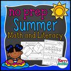 No Prep Summer Literacy and Math Kindergarten Pack