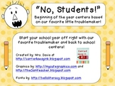 """No, Students!""  Back to school centers... Based on our fa"