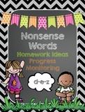 Nonsense Words Homework for Dibels and Dibels Next Practice