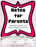 Notes, Reminders, and Notices for Parents