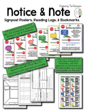 Notice and Note (Close Reading) Posters, Reading Logs, and