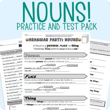 Nouns Grammar Worksheet Packet + Test