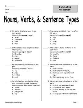 Nouns, Verbs, Sentence Types Assessment