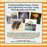 Nouns, Verbs, and Adjectives Activity Using Pictures and O
