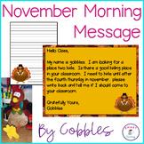 Nov Morning Message - Common Core ELA -Thanksgiving - Morn
