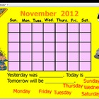 November 2012 Calendar and Morning Meeting for ActivBoard