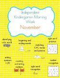 November Kindergarten Morning Work, Daily Math and Literac