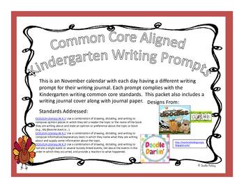 November Kindergarten Writing Prompts and Journal (Common