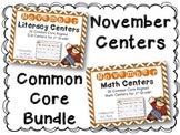 November Literacy & Math Centers Menu BUNDLE {CCS Aligned}