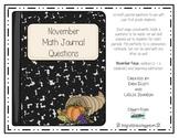 November Math Journal Prompts