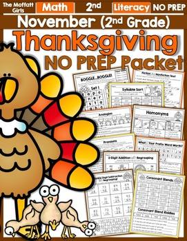 November NO PREP Math and Literacy (2nd Grade)