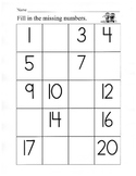 Number Charts / Fill in the Missing Numbers / Writing Numbers