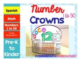 Number Crowns 1 to 50 { Spanish }