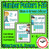 Numbers Posters - Blue and Green Theme