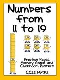 Numbers to 11 to 19- Kindergarten Base Ten- NBT K.1