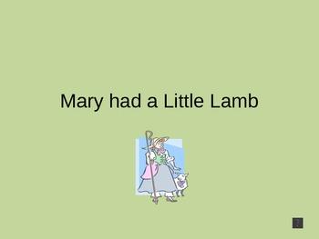 Nursery Rhyme: Mary had a Little Lamb - Power Point Presentaion
