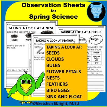 Observation Sheets for Spring Science: Nests, Clouds, Seed