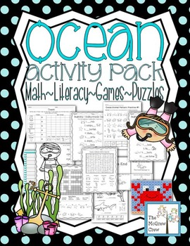 Ocean Animal Activity Pack Math Literacy Games Puzzles Centers K-1