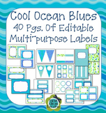 Ocean Colors EDITABLE Banner, Signs, Labels, Binder Covers