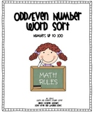 Odd/Even Number Word Sort (numbers up to 100)