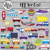 Off We Go Transportation Clipart Set