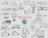 Off We Go Transportation Line Art Set