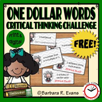 One Dollar Words Freebie -- Critical Thinking