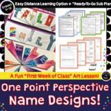 One Point Perspective Name Design / Art Folder Design