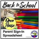 Beginning of the Year Open House Parent Sign In Sheet Spreadsheet