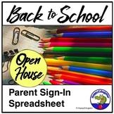 Open House Parent Sign In Sheet Spreadsheet