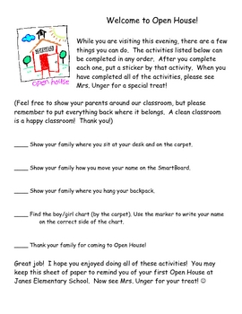 Open House Scavenger Hunt for Primary Students