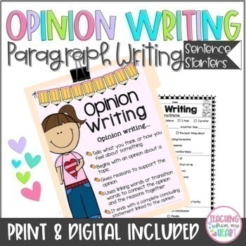 Opinion Writing Sentence Starters/Frames & Graphic Organizers, CCSS Aligned,