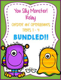 Order of Operations TIERED Silly Monster Relay! (4 relays