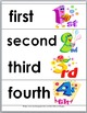 Ordinal Words and Numbers Word Wall, Matching Cards, and Puzzles