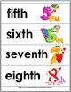 Ordinal Words and Numbers Word Wall and Matching Activity Cards