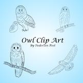 Owl Clip Art - Simple Black Line