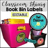 Owl Chevron Theme Book Bin Library Labels {EDITABLE}