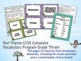 Owl Theme Grade Three CCSS Complete Vocabulary Program