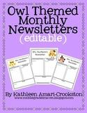Owl Themed Newsletters (Editable)