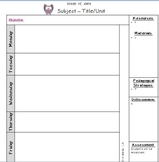 Owl Weekly Lesson Planner