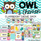 Owl and Chevron Classroom Decor {Editable}
