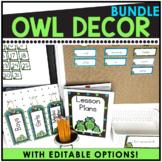 Owl and Polka Dot Themed Editable Classroom Pack
