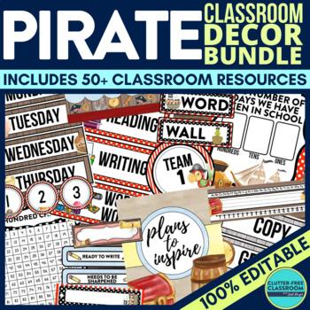 PIRATES Classroom Theme EDITABLE Decor 34 Printable Product Bundle