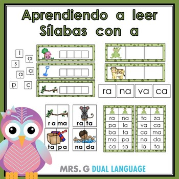 Palabras con a. Aprendiendo a leer sílabas con a. Spanish